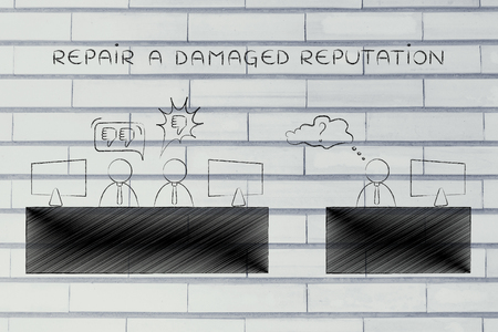 opinions: repair a damaged reputation: colleagues at office desk expressing negative opinions about a third person