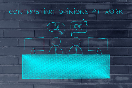 opinions: contrasting opinions at work: colleagues at office desk with different points of view