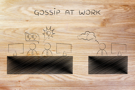 opinions: gossip at work: colleagues at office desk expressing negative opinions about a third person Stock Photo