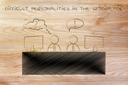 doubtful: difficult personalities in the workplace: colleagues at office desk with contrasting attitude or reaction to things, doubtful and confident