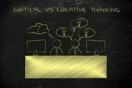 doubtful: critical vs creative thinking: colleagues at office desk one is doubtful the other has plenty of ideas