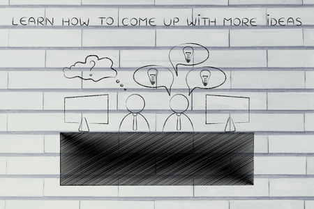 come up: learn how to come up with more ideas: colleagues at office desk one is doubtful the other has plenty of ideas