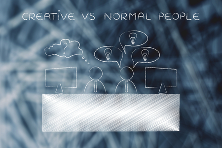 doubtful: creative vs normal people: colleagues at office desk one is doubtful the other has plenty of ideas Stock Photo