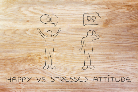and an optimist: happy vs stressed attitude: optimist man acting joyful with while another man is bending his head down with negativity