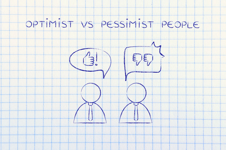 pessimist: optimist vs pessimist people: man with thumbs up speech bubble while another man reacts negatively with thumbs down to the same situation Stock Photo