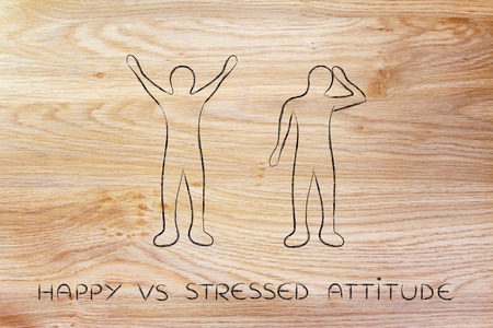 head down: happy vs stressed attitude: man happily lifting his hands up in the air while another man is bending his head down in sadness or doubt