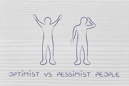 and an optimist: optimist vs essimist people: man happily lifting his hands up in the air while another man is bending his head down in sadness or doubt