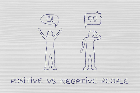 and an optimist: positive vs negative people: optimist man acting joyful with while another man is bending his head down with sadness