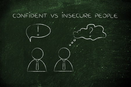 insecure: confident vs insecure people: man acting convinced and another person being doubtful, business men icons version