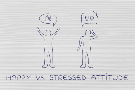 hesitant: happy vs stressed attitude: optimist man acting joyful with while another man is bending his head down with negativity