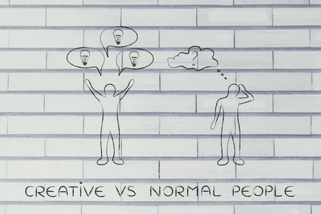 hesitant: creative vs normal people: man reacting with plenty of ideas and another person overanalysing the situation