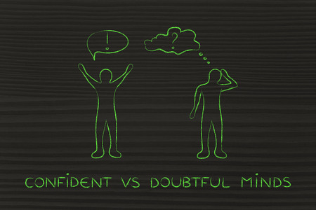 head down: confident vs doubtful minds: convinced man happily lifting his hands up in the air while another man is bending his head down in doubt
