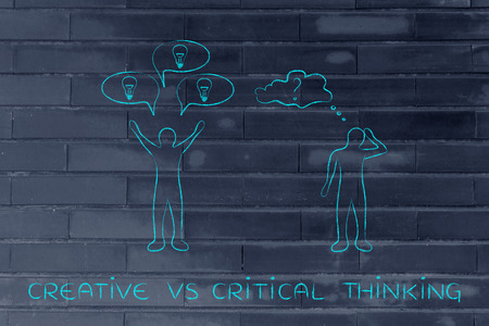 hesitant: creative vs critical thinking: man reacting with plenty of ideas and another person overanalysing the situation