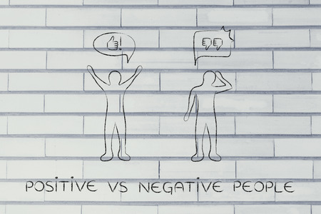 hesitant: positive vs negative people: optimist man acting joyful with while another man is bending his head down with sadness