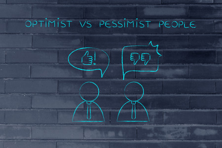 hesitant: optimist vs pessimist people: man with thumbs up speech bubble while another man reacts negatively with thumbs down to the same situation Stock Photo