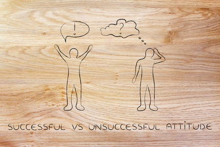 pessimist: successful vs unsuccessful attitude: convinced man happily lifting his hands up in the air while another man is bending his head down in doubt