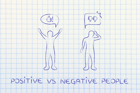 pessimist: positive vs negative people: optimist man acting joyful with while another man is bending his head down with sadness