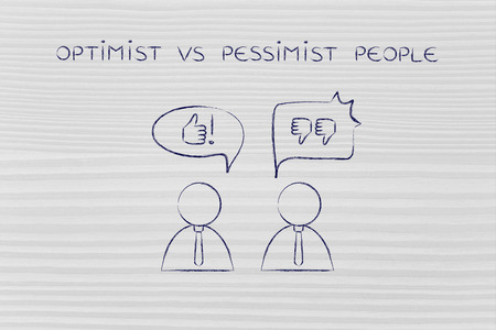 negatively: optimist vs pessimist people: man with thumbs up speech bubble while another man reacts negatively with thumbs down to the same situation Stock Photo