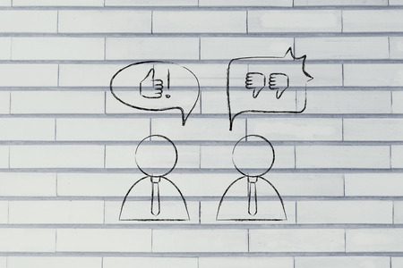 and an optimist: optimist man with thumbs up speech bubble while another man reacts negatively with thumbs down to the same situation