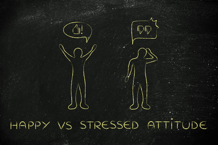 head down: happy vs stressed attitude: optimist man acting joyful with while another man is bending his head down with negativity