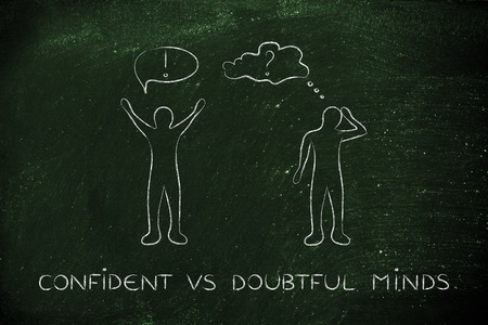 convinced: confident vs doubtful minds: convinced man happily lifting his hands up in the air while another man is bending his head down in doubt