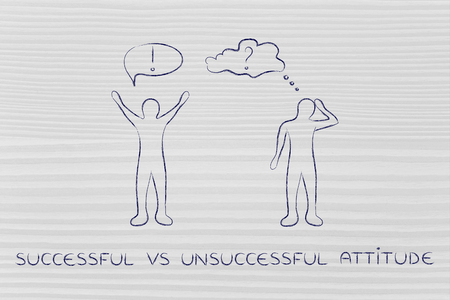 head down: successful vs unsuccessful attitude: convinced man happily lifting his hands up in the air while another man is bending his head down in doubt