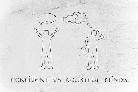 doubtful: confident vs doubtful minds: convinced man happily lifting his hands up in the air while another man is bending his head down in doubt