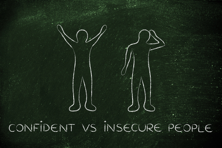 insecure: confident vs insecure people: man happily lifting his hands up in the air while another man is bending his head down in sadness or doubt