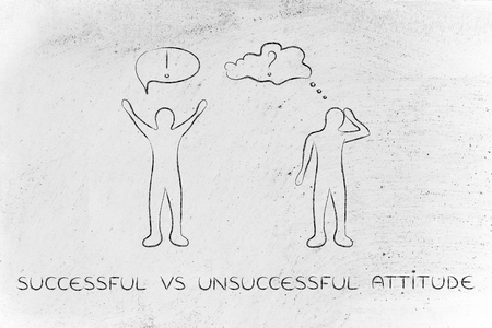 convinced: successful vs unsuccessful attitude: convinced man happily lifting his hands up in the air while another man is bending his head down in doubt