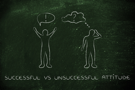 hesitant: successful vs unsuccessful attitude: convinced man happily lifting his hands up in the air while another man is bending his head down in doubt