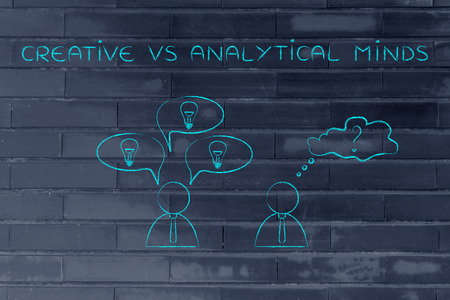 analytical: creative vs analytical minds: man reacting with plenty of ideas and another person overanalysing the situation, business men icons version