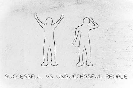 head down: successful vs unsuccessful people: man happily lifting his hands up in the air while another man is bending his head down in sadness or doubt Stock Photo