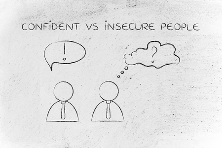 doubtful: confident vs insecure people: man acting convinced and another person being doubtful, business men icons version