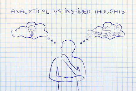 objectivity: analytical vs inspired thoughts: man elaborating intuitive thoughts (right side of his brain) and critical reasonings (his left side)