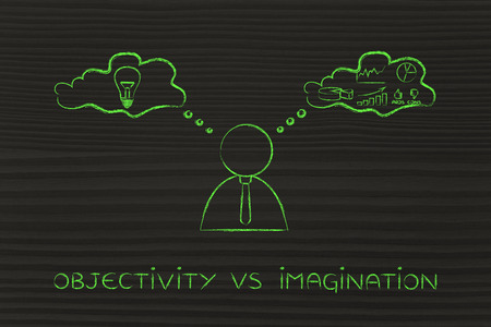 objectivity: objectivity vs imagination: thoughtful businessman elaborating creative thoughts (right side of his brain) and analytical reasonings (his left side)