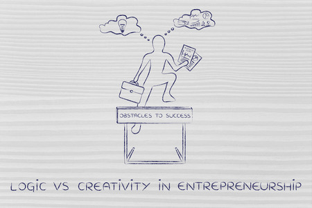 reasonings: logic vs creativity in entrepreneurship: businessman overcoming obstacle by elaborating imaginative thoughts (right side of his brain) and analytical reasonings (his left side)