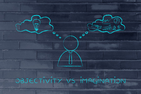 analytical: objectivity vs imagination: thoughtful businessman elaborating creative thoughts (right side of his brain) and analytical reasonings (his left side)