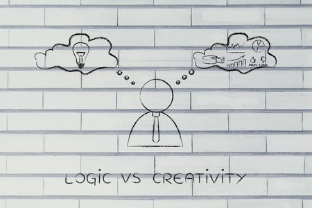 analytical: logic vs creativity: thoughtful businessman elaborating intuition thoughts (right side of his brain) and analytical reasonings (his left side)