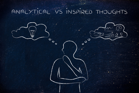 analytical: analytical vs inspired thoughts: man elaborating intuitive thoughts (right side of his brain) and critical reasonings (his left side)