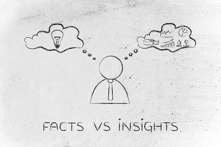 analytical: facts vs insights: thoughtful businessman elaborating creative thoughts (right side of his brain) and analytical ones (his left side)