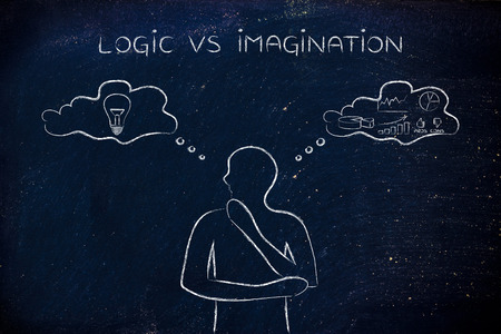 objectivity: logic vs imagination: thoughtful man elaborating intuitive thoughts (right side of his brain) and analytical reasonings (his left side)
