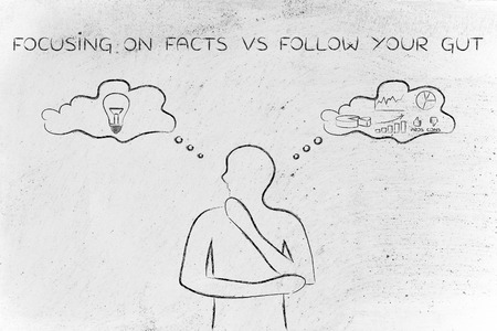reasonings: focusing on facts vs following your gut: thoughtful man elaborating intuitive thoughts (right side of his brain) and analytical reasonings (his left side)
