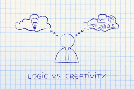 reasonings: logic vs creativity: thoughtful businessman elaborating intuition thoughts (right side of his brain) and analytical reasonings (his left side)