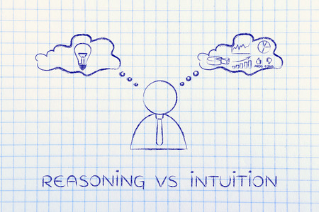 intuition: reasoning vs intuition: thoughtful businessman elaborating creative thoughts (right side of his brain) and analytical ones (his left side)