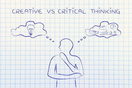 analytical: creative vs critical thinking: thoughtful man elaborating intuitive thoughts (right side of his brain) and analytical reasonings (his left side)