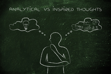 reasonings: analytical vs inspired thoughts: man elaborating intuitive thoughts (right side of his brain) and critical reasonings (his left side)