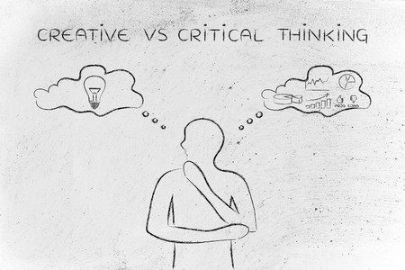 reasonings: creative vs critical thinking: thoughtful man elaborating intuitive thoughts (right side of his brain) and analytical reasonings (his left side)
