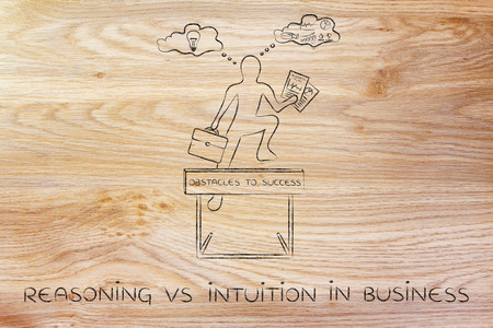 reasonings: reasoning vs intuition in business: businessman overcoming obstacle by elaborating creative thoughts (right side of his brain) and analytical reasonings (his left side)