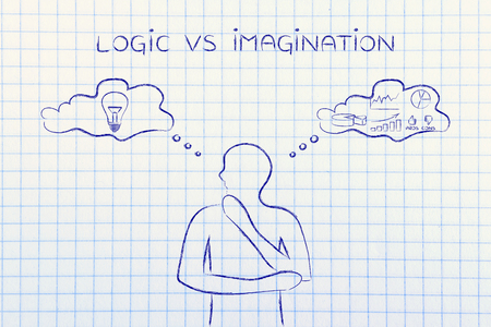 analytical: logic vs imagination: thoughtful man elaborating intuitive thoughts (right side of his brain) and analytical reasonings (his left side)