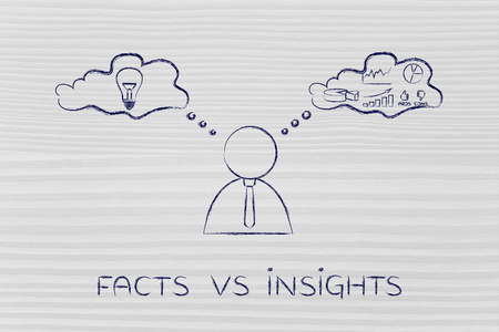 objectivity: facts vs insights: thoughtful businessman elaborating creative thoughts (right side of his brain) and analytical ones (his left side)